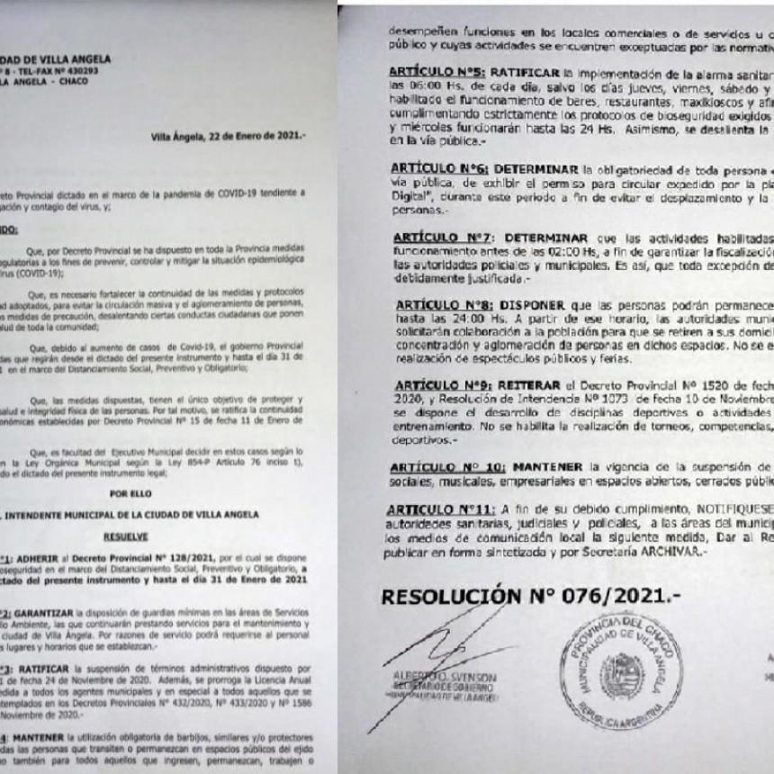 Villa Ángela: EL MUNICIPIO ADHIERE AL DECRETO PROVINCIAL N° 128/2021 QUE IMPLEMENTA EL ASPO