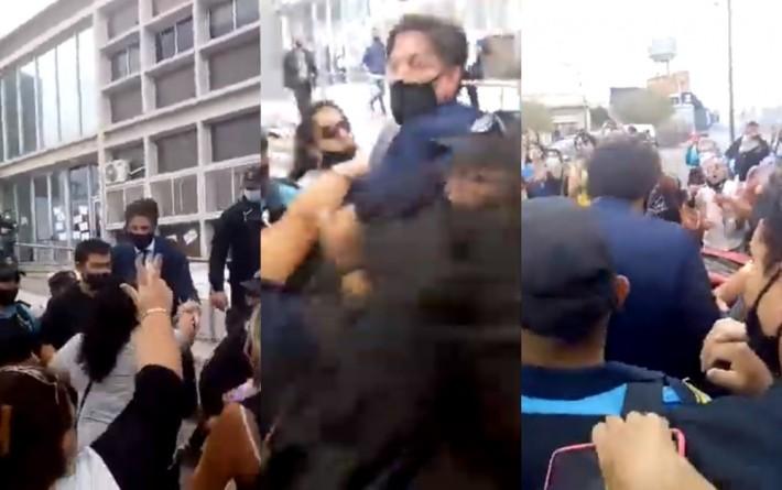 Tensa visita del ministro Trotta a Chubut: docentes los increparon entre insultos y empujones