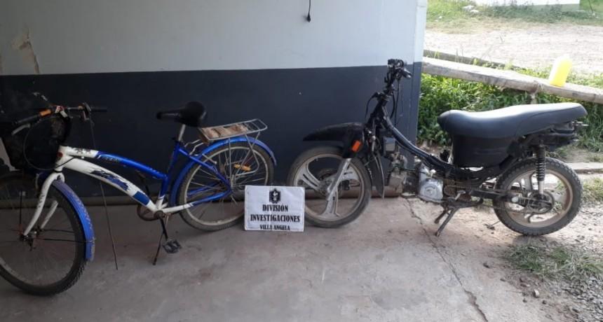 VILLA ÁNGELA: RECUPERAN MOTO ROBADA Y SE BUSCA EL PARADERO DE