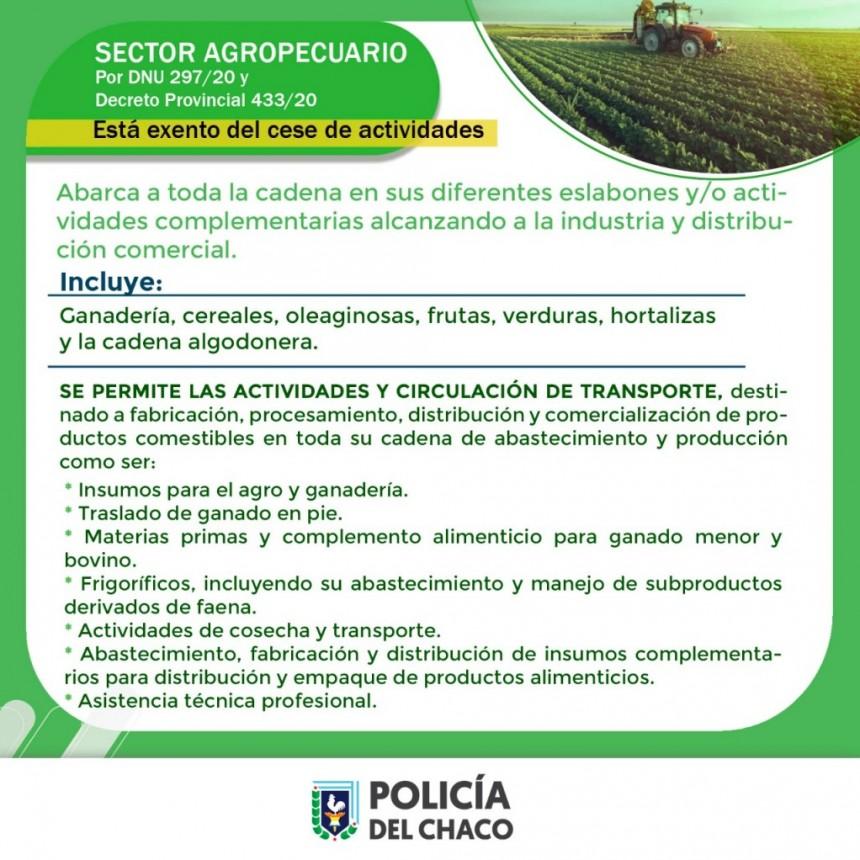 EL SECTOR AGROPECUARIO ESTÁ EXENTO DEL D.N.U. 279/20 Y DEL DEC. PROV. 233/20