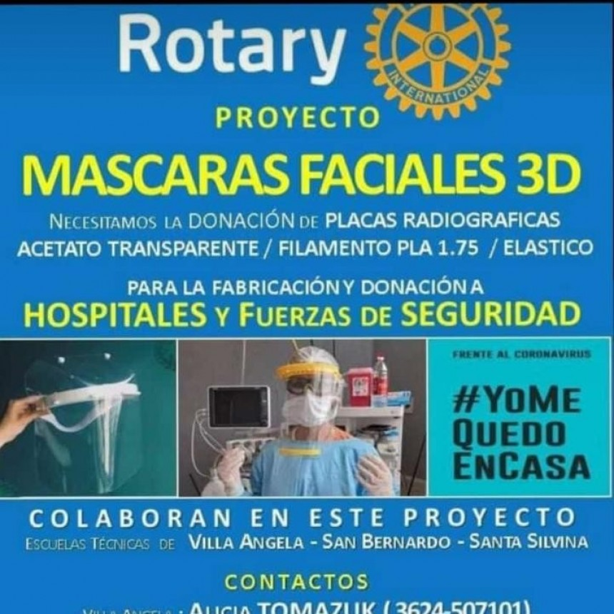 RÓTARY CLUB: SOLICITA DONACIONES DE MATERIALES PARA LA CONFECCIÓN DE MÁSCARAS 3D.
