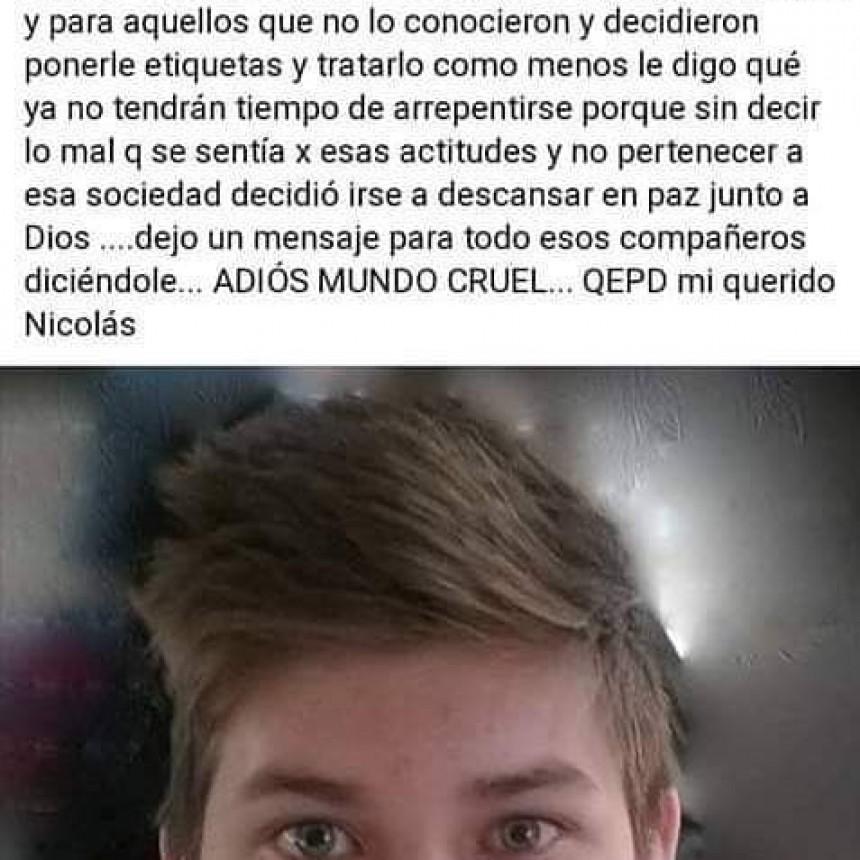 LA TIGRA UN CHICO DE 15 AÑOS SE SUICIDO POR SUFRIR BULLYNG EN EL COLEGIO