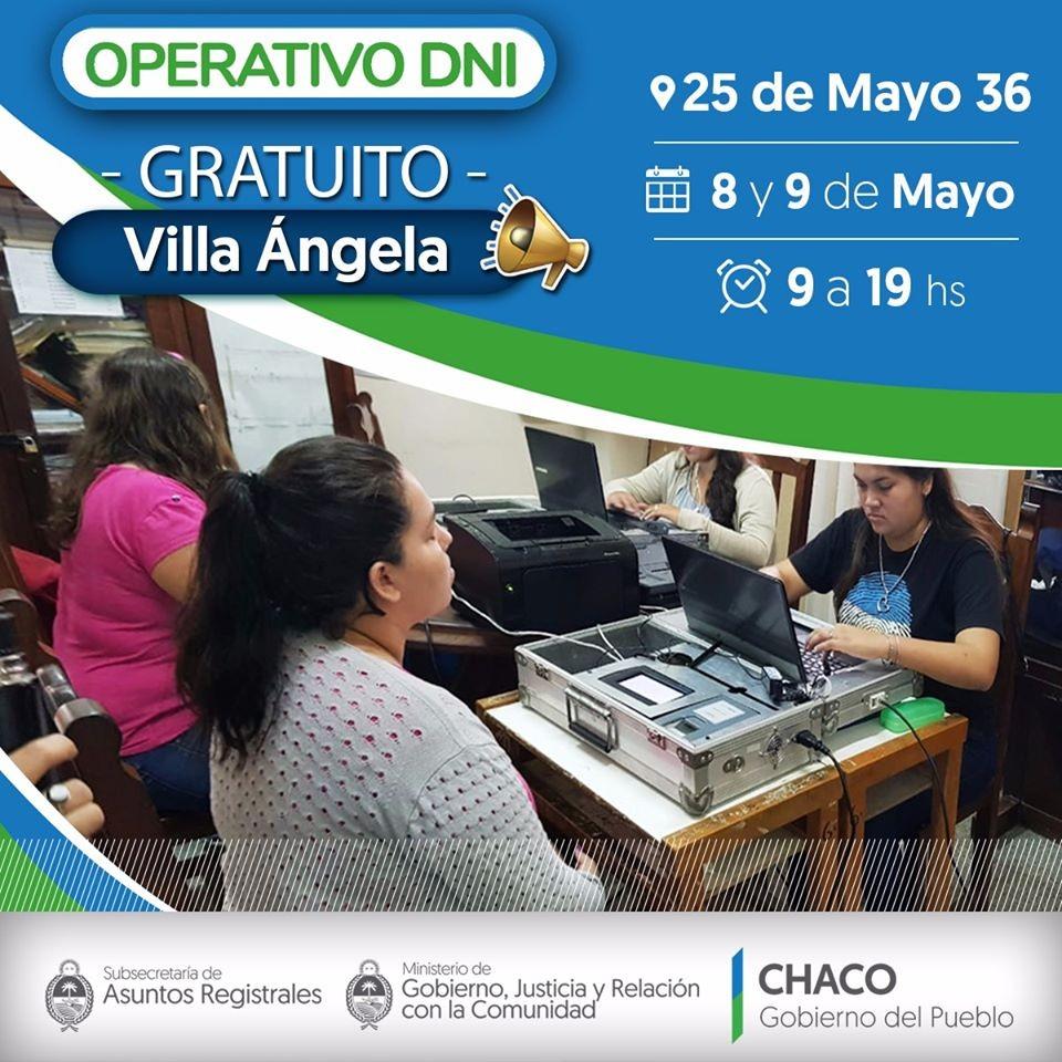 Nuevo Operativo de DNI Gratuito en VillaAngela.  El Estado De Tu Lado