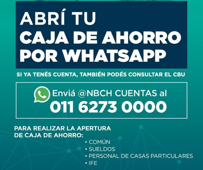 El Nuevo Banco del Chaco habilitó la apertura de cajas de ahorro vía WhatsApp