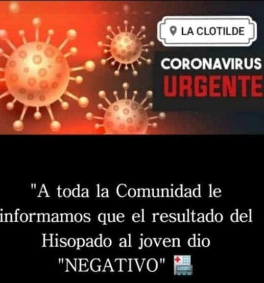 La Clotilde: EL CASO SOSPECHOSO ES NEGATIVO PARA COVID-19