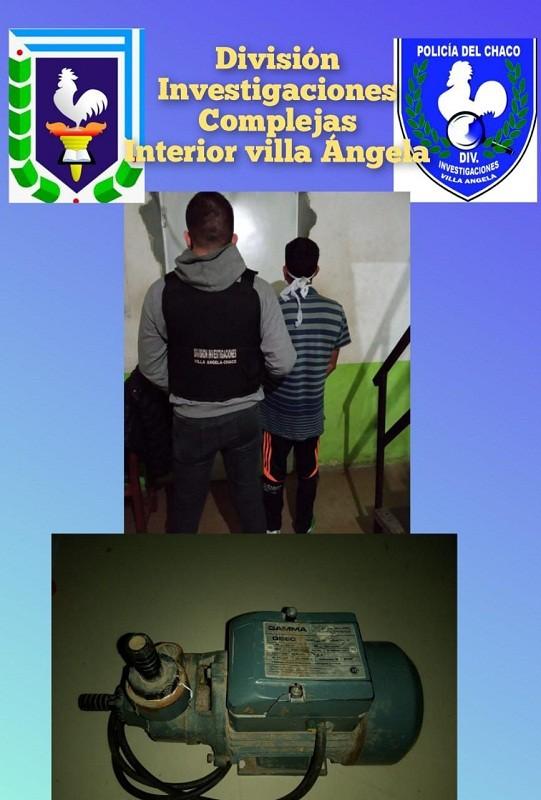 Villa Ángela: La Policía logró recuperar una Bomba de Agua sustraída días atrás cuando el delincuente Intentaba comercializarla