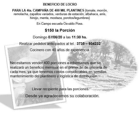 Villa Ángela: EL CAMPO ESCUELA OSVALDO POSS, REALIZA UN LOCRO A BENEFICIO PARA LLEGAR A LOS 400 MIL PLANTINES PARA LA PRÓXIMA CAMPAÑA