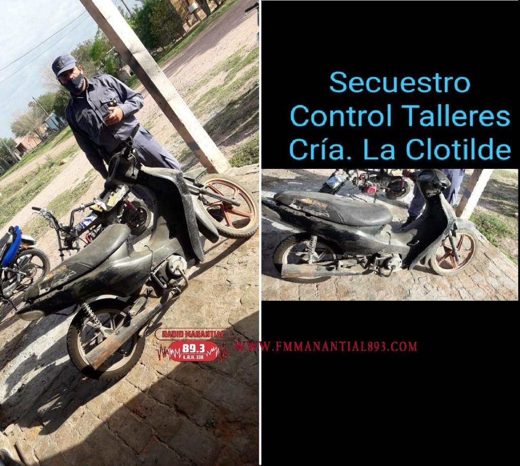 La Clotilde: TRAS OPERATIVOS SORPRESAS A TALLERES MECÁNICOS RECUPERAN UNA MOTO CON NUMERACIONES ADULTERADAS
