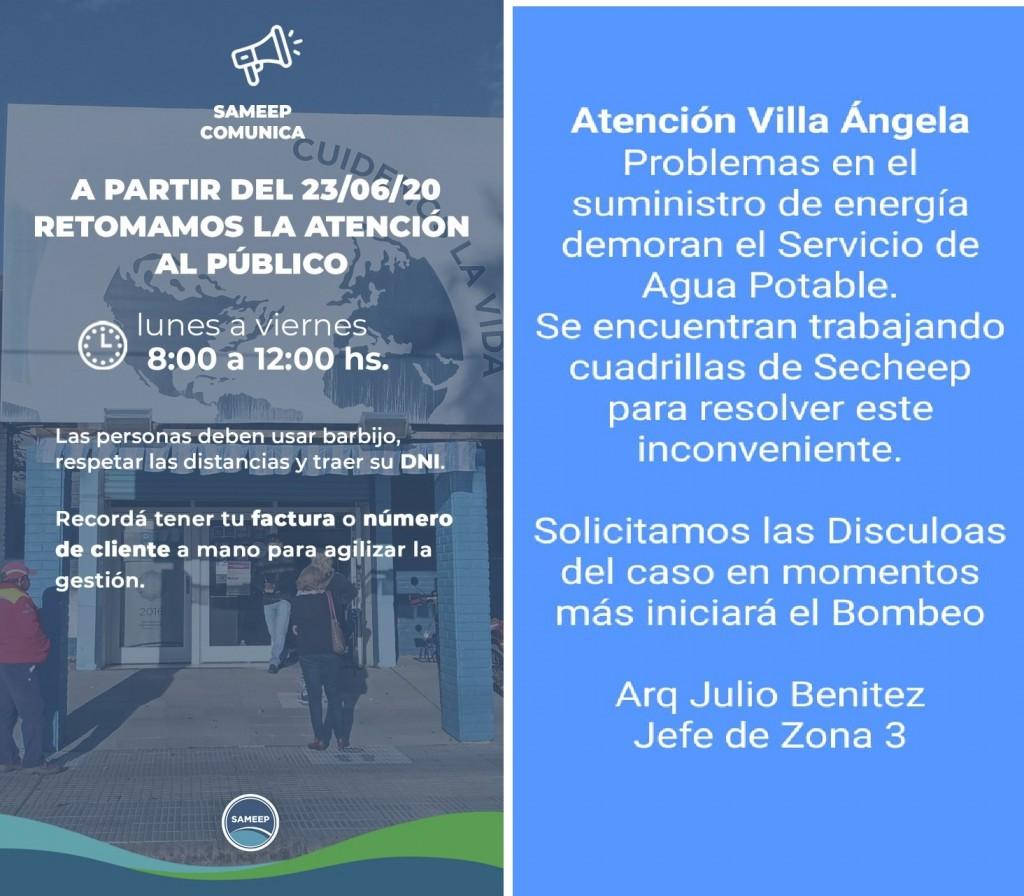 Villa Ángela: SAMEEP: INFORMA QUE NO HABRÁ INTERESES PARA LAS FACTURAS ADEUDADAS DE MARZO A JUNIO, ADEMÁS LA EMPRESA ABRIÓ SUS PUERTAS A LA ATENCIÓN AL PÚBLICO