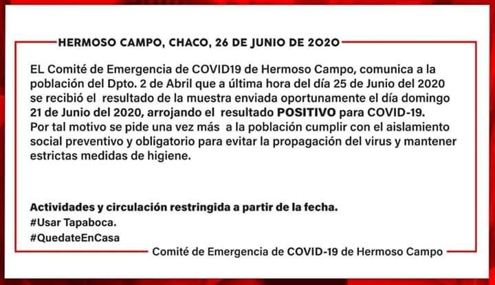 Hermoso Campo: CONFIRMARON EL PRIMER CASO DE CORONAVIRUS