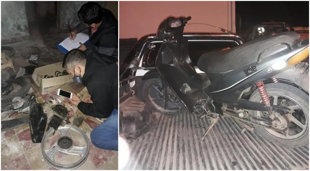 Desbarataron un desarmadero de motos que funcionaba en un taller mecánico en Villa Ángela