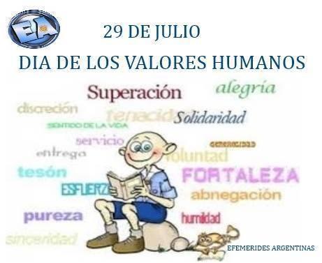 29 de Julio Día de los Valores Humanos en ARGENTINA