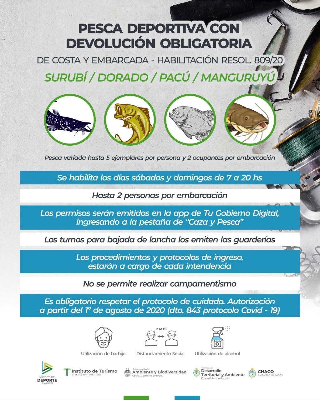 Chaco: SE HABILITÓ LA PESCA DEPORTIVA CON DEVOLUCIÓN DE EMBARCACIÓN Y COSTA Y A PARTIR DEL 1 DE AGOSTO SE OTORGARÁN LOS PERMISOS