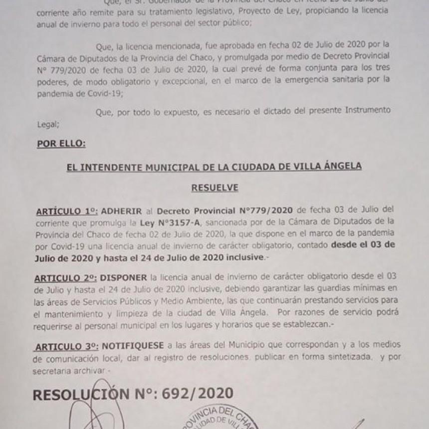 Villa Ángela: EL MUNICIPIO SE UNE AL DECRETO Y DISPONE EL RECESO DE INVIERNO DEL 3 AL 24 DE JULIO