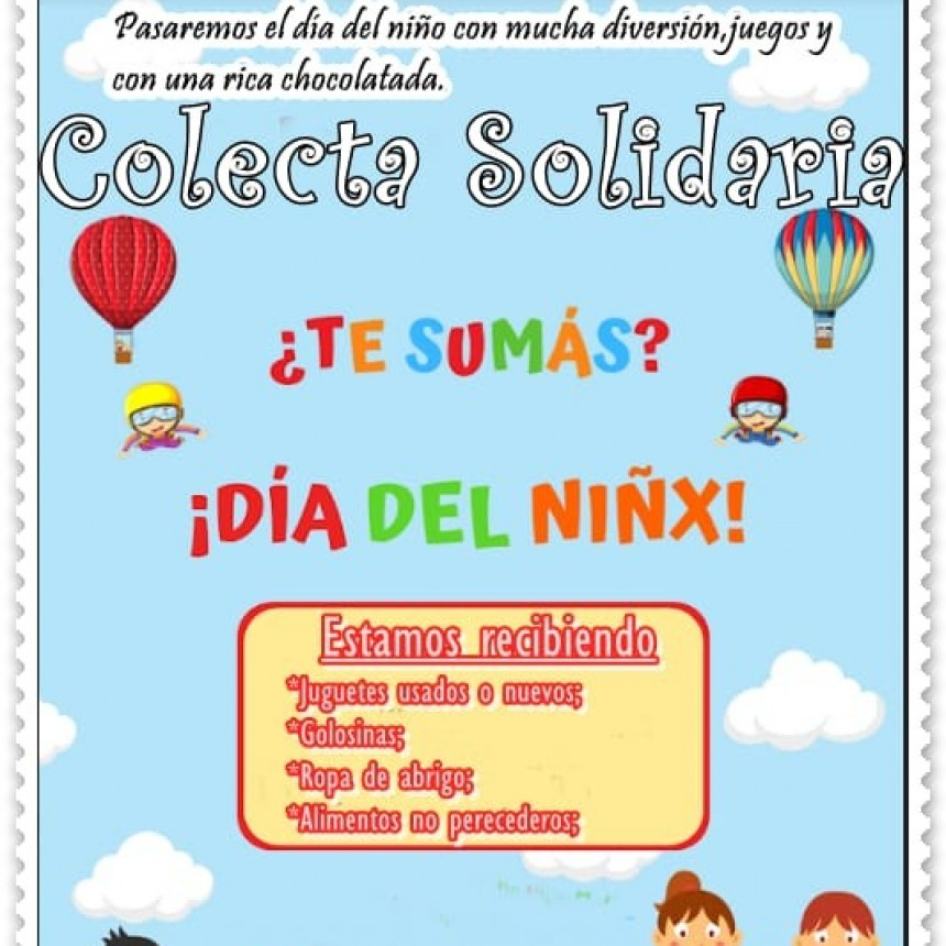 """COLECTA SOLIDARIA""  A beneficio de los niños/as del Lote N° 20"