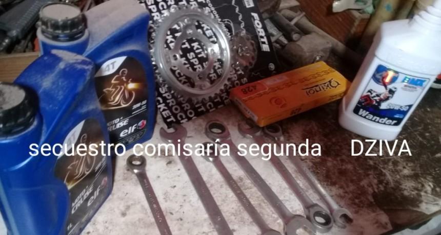RECUPERARON ELEMENTOS ROBADOS DE UN TALLER MECÁNICO