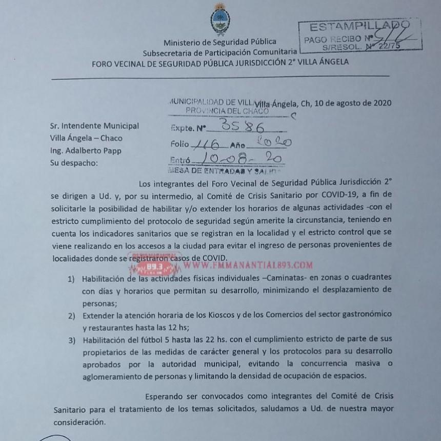 Villa Ángela: EL FORO DE SEGURIDAD VECINAL PÚBLICA JURISDICCIÓN 2° VILLA ÁNGELA SOLICITÓ AL MUNICIPIO