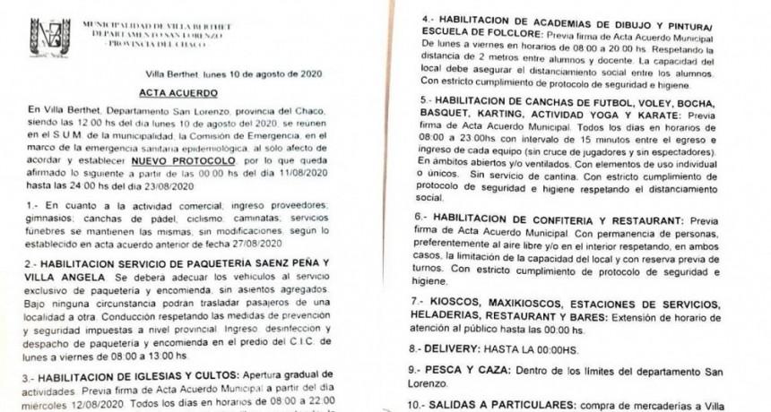 Villa Berthet: HOY COMIENZA A REGIR EL NUEVO PROTOCOLO CON HABILITACIÓN DE ACTIVIDADES Y EXTENSIONES HORARIAS