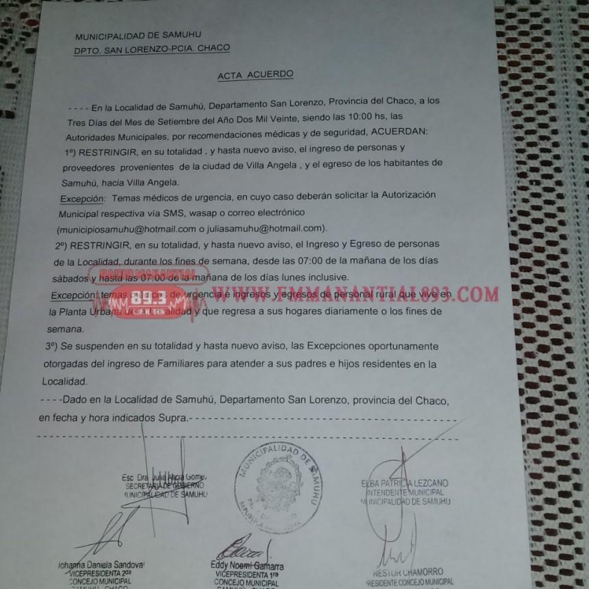 SAMUHÚ RESTRINGE EL INGRESO DE PERSONAS PROVENIENTES DE VILLA ÁNGELA
