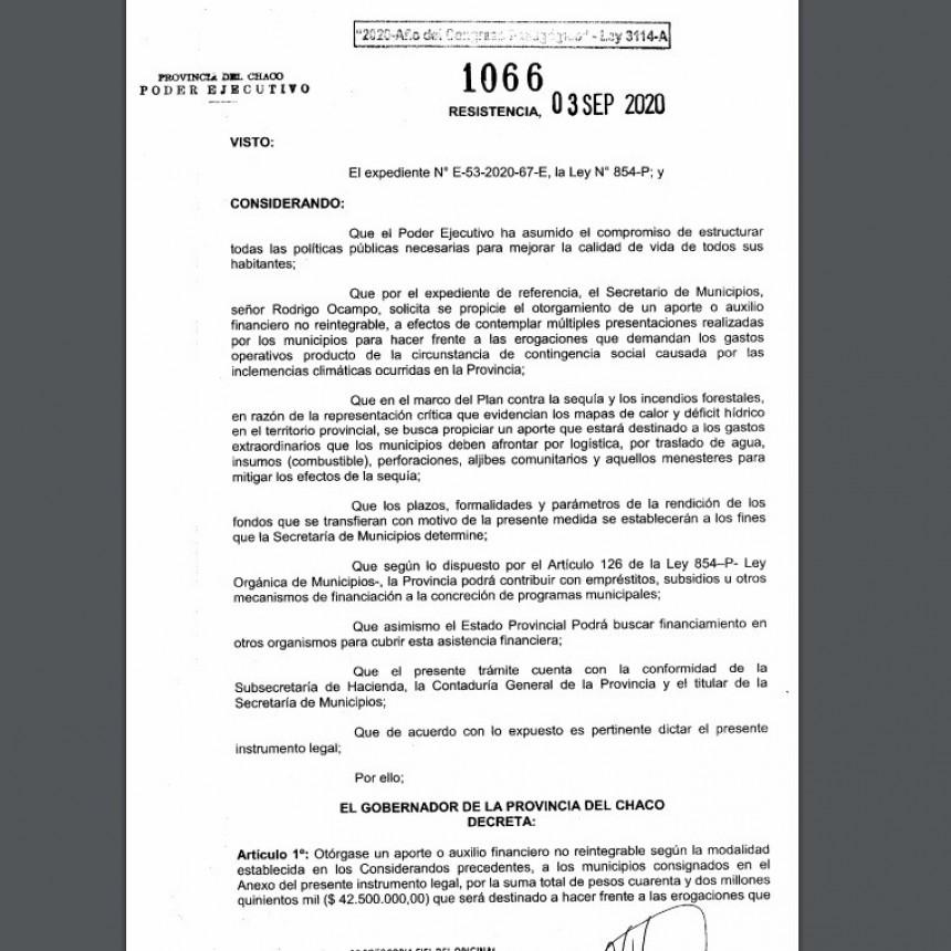 PLAN CONTRA LA SEQUÍA E INCENDIOS FORESTALES: EL GOBERNADOR FIRMÓ EL DECRETO DE LA PRIMERA ETAPA DE TRANSFERENCIA DIRECTA A MUNICIPIOS
