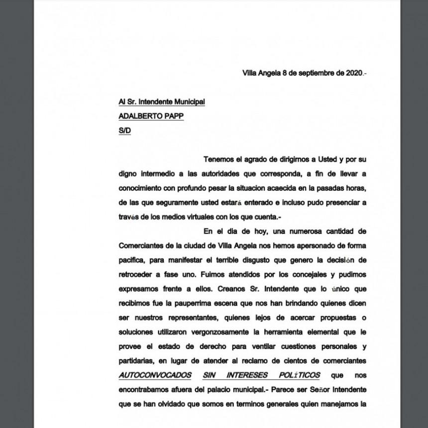 Villa Ángela: CARTA PRESENTADA POR COMERCIANTES AUTO CONVOCADOS  AL EJECUTIVO MUNICIPAL EN REPUDIO AL CIERRE DE COMERCIOS