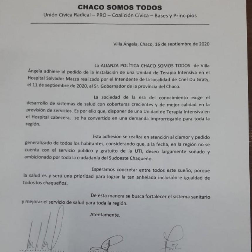 """Villa Ángela: """"CHACO SOMOS TODOS"""" ADHIERE AL PEDIDO DE UNA UNIDAD  DE TERAPIA PARA EL HOSPITAL SOLICITADO POR EL INTENDENTE J. C. POLINI"""