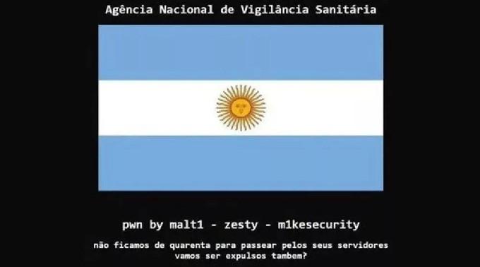 Hackearon la página de Anvisa y pusieron la bandera Argentina