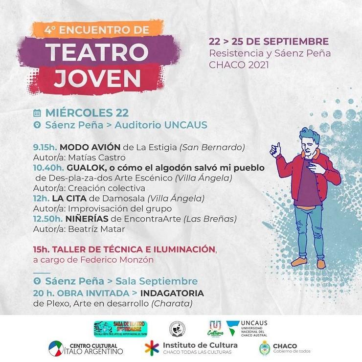 EL 22 Y 23 EN SÁENZ PEÑA, 24 Y 25 EN RESISTENCIA El Chaco vive el cuarto encuentro provincial de Teatro Joven