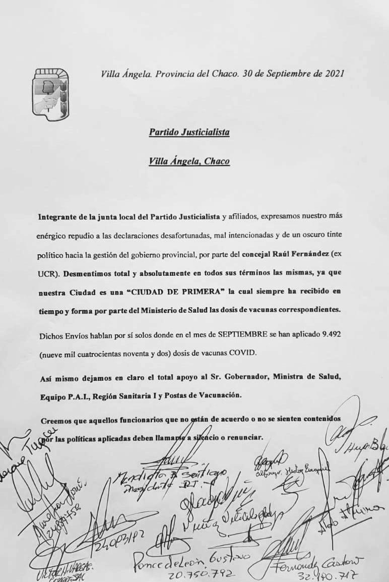 Villa Angela: Integrantes del partido justicialista repudian las declaraciones del concejal Raúl Fernández