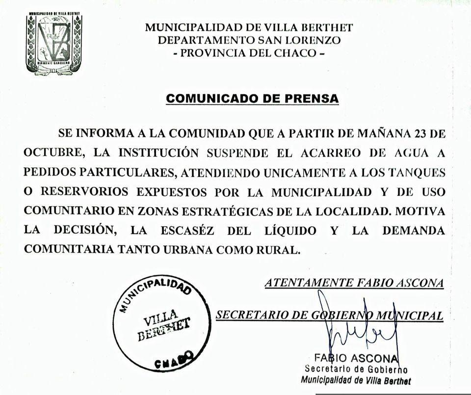 Villa Berthet:  EL MUNICIPIO SUSPENDE EL ACARREO DE AGUA A PARTICULARES DEBIDO A LA FALTA DE AGUA