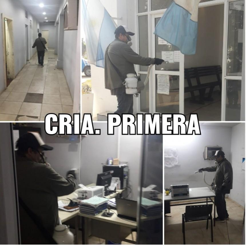 Villa Ángela: SE REALIZARON TRABAJOS DE DESIFECCIÓN Y SANITIZACIÓN EN DISTINTAS DEPENDENCIAS POLICIALES