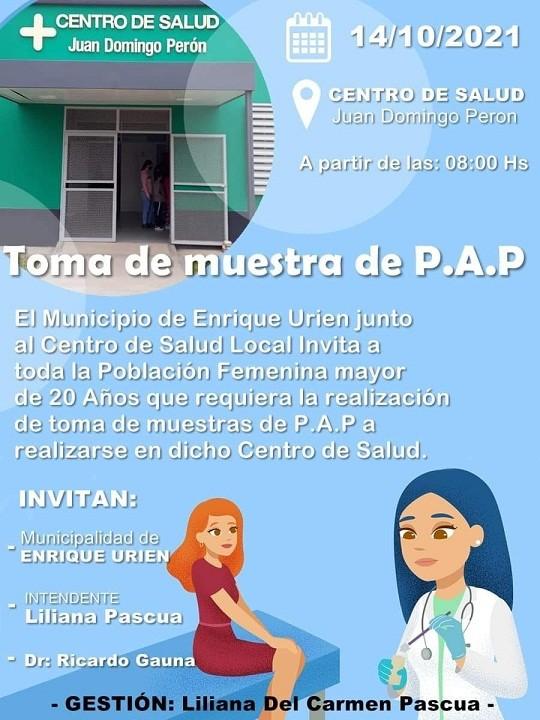 Enrique Urien: Realizaran Tomas de Muestras de P.A.P este jueves 14 de octubre